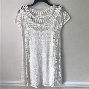 Free People Crochet Knit & Lace 2pc Mini Dress